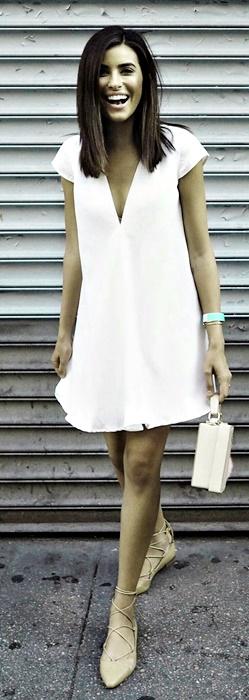 fuemio vintage clasicos moda vestido blanco lineaA