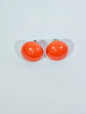 Aros clip perlas grandes naranja
